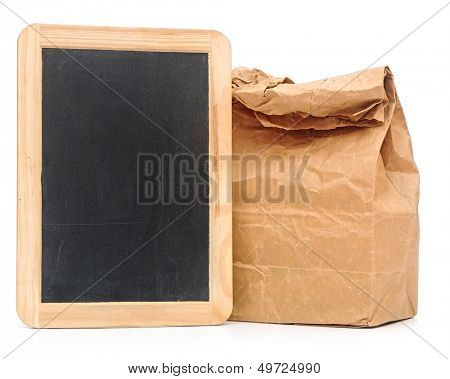 school lunch bag with blank blackboard on white