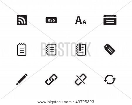 Blogger icons on white background