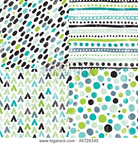 Seamless geometric hand drawn retro dots and aztec elements background pattern series in vector