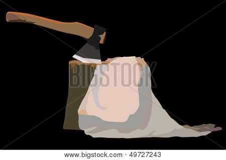 Image Tool Lumberjack Ax In A Wooden Deck