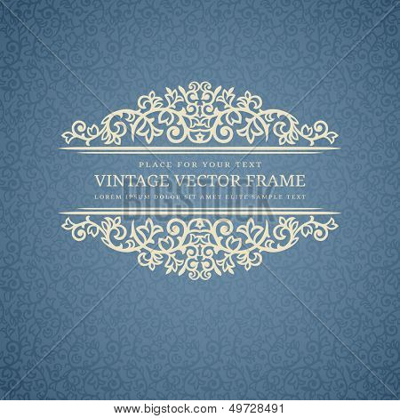 Vintage Beige Frame on Blue Retro Background poster