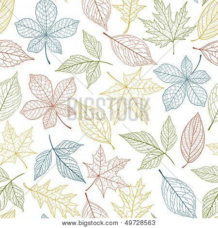 Autumn seamless pattern on white background