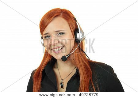 Young call center secretary consultant woman