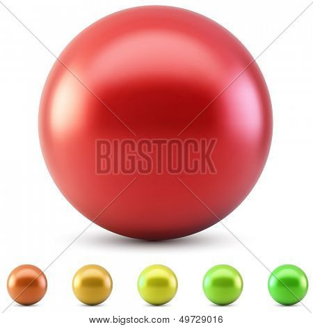 Red glossy ball vector illustration isolated on white background with warm color samples.