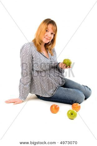 Pregnant Woman With Apples