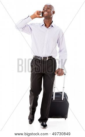 Man going on a business trip and talking on the phone - isolated over white