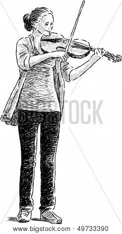Teen Playing A Fiddle.eps