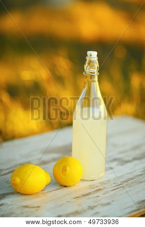 Lemonade. focus on lemon