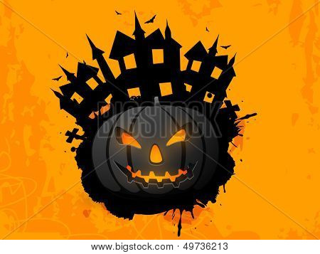 Happy Halloween poster, banner or flyer with scary pumpkin and haunted house on grungy yellow background.