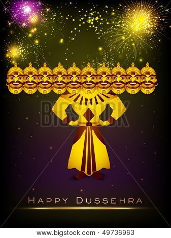 Indian festival Dussehra concept with Ravana with his ten heads on fireworks night background.