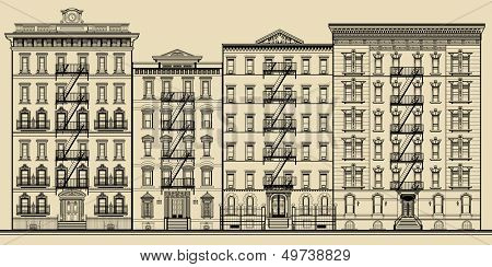 Old building and facades of new york - totally fictitious vector illustration