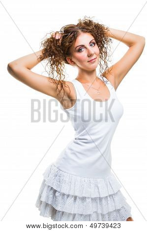 Coquettish Princess Girl On Isolated White Background