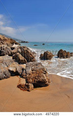Rocky Beach In Sunny Malibu California