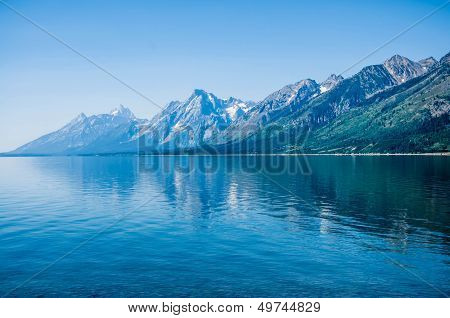 Grand Teton Mountains, from Jenny Lake, Grand Teton National Park, Wyoming, USA.
