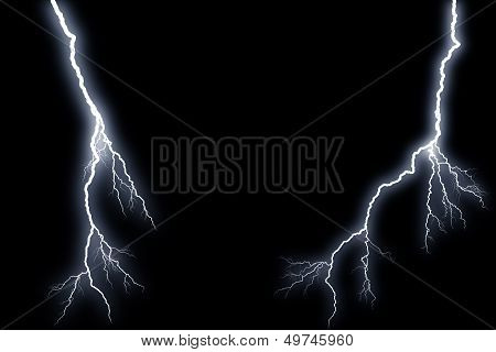 Flash lightning on black background