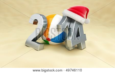 New Year 2014 On The Beach, Beach Ball, Santa Het