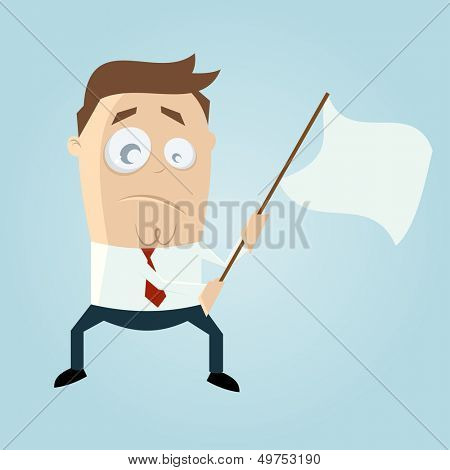 cartoon man waving white flag