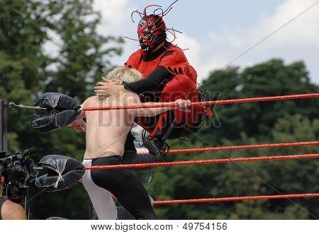 Wrestlers Fighting