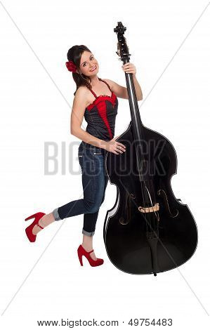 Rockabilly Girl With Upright Bass