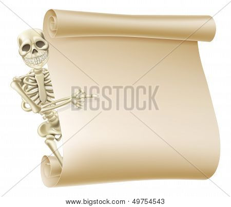 Halloween Skeleton Scroll