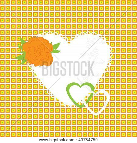 Vector Illustration Of Beautiful Heart Icon. Card For Valentine's Day, Invitation Or Congratulation.