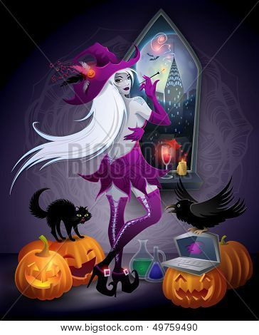 Halloween illustration : a beautiful witch looking at a New York city