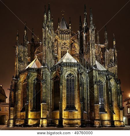 rear view of St. Vitus Cathedral at winter night, in Prague