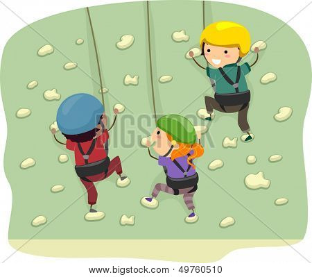 Stickman Illustration Featuring Kids Dressed in Climbing Gear Scaling a Wall