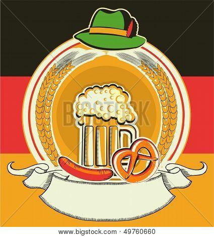 Beer Label With German Flag And Oktoberfest Symbols