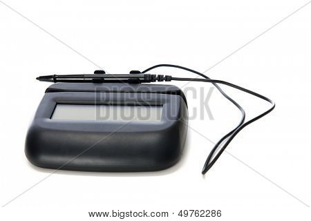 Isolated image of a commercial touch-screen point-of-sale signature pad with its tethered pen in the holder.  On a white background.