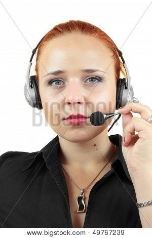 Attractive woman with headphone on white background