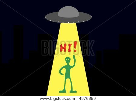 Background With The Ufo And Funny Alien