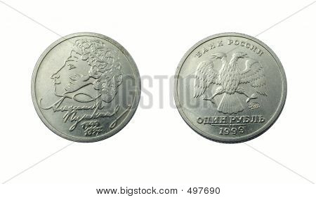 Russian Coin Devoted To Poet Pushkin