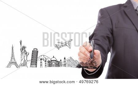 Businessman drawing  World travel (Japan,France,Italy,New York,India,egypt)