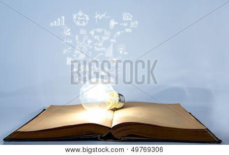 Book and light bulb with business graph
