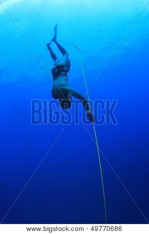 Freediver dives into blue sea