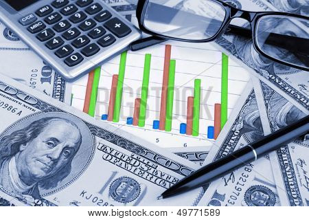 Business background. Financial data concept with diagram and money