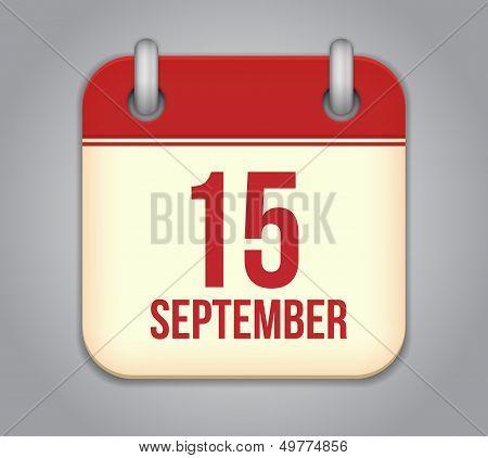 Vector calendar app icon. 15 september