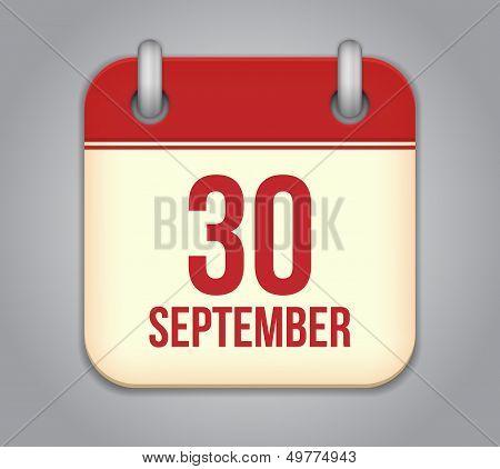 Vector calendar app icon. 30 september