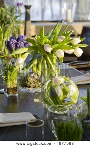 Bouquet Tulip And Hyacinth In Vase Glass Decoration Of Dining Table Stock P