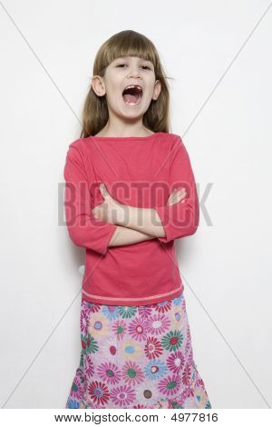 Portrait Of Young Smiling Cute Singing  Girl