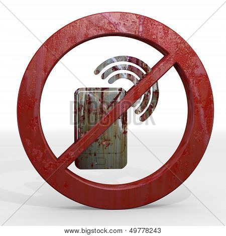 3D Render Of A Isolated Smart Phone Sign Not Allowed
