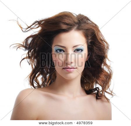 Beauty And Sexy Woman With Blown Hairs