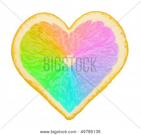 Multicolored piece of orange in form of heart isolated on white