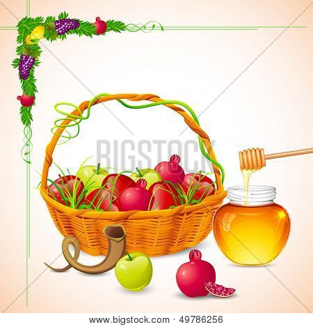 illustration of Rosh Hashanah background with honey on apple