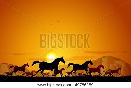 illustration of horses running in field