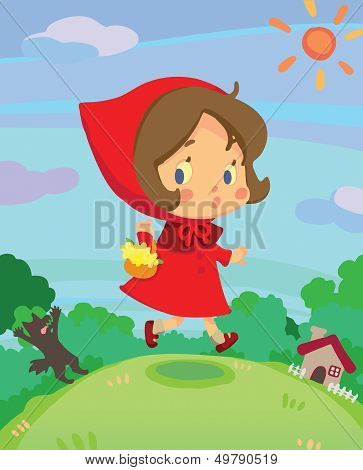 Little Red Riding Hood On Run In A Little Dreamy World