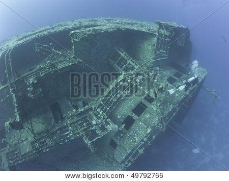 Scuba Diver Exploring A Shipwreck