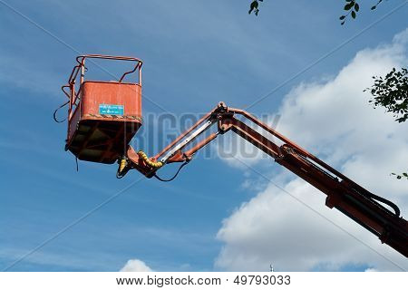Tall Mobile Crane With Sky Background