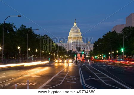 Pennsylvania Avenue and Capitol Building, Washington D.C., USA